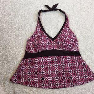 Merona pink/brown halter tankini top only